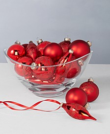 Christmas Cheer Red Glass Ornaments, Set of 22, Created for Macy's