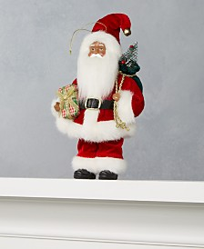 "Holiday Lane 8""H African American Santa Ornament with Christmas Tree and Gift, Created for Macy's"