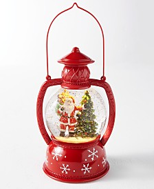 Holiday Lane Christmas Cheer Lantern Style Light Up Snowglobe with Blown Snow and Santa and Christmas Tree, Created for Macy's
