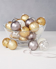 Shine Bright Set of 30 Shatterproof Gold, Silver and White Ornaments, Created for Macy's