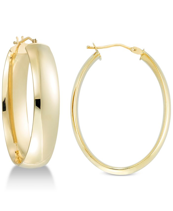 Italian Gold - Polished Oval Hoop Earrings in 14k Gold