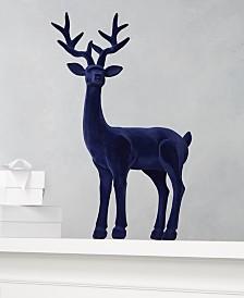 Holiday Lane Midnight Blue Blue Flocked Reindeer, Created for Macys