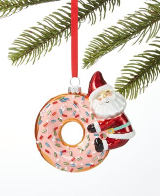 Sweet Tooth Santa on Donut Ornament, Created for Macy's