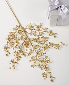 Midnight Blue Gold Leaf Pick Ornament, Created For Macy's