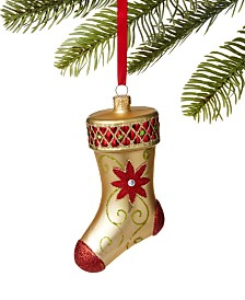 Holiday Lane Majesty Poinsettia Stocking Ornament, Created for Macy's