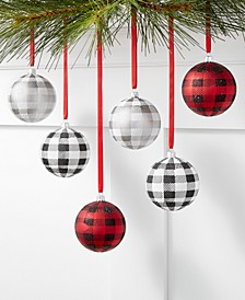 The Holiday Collection Set of 6 Shatterproof Black, Red and White Plaid Ornaments, Created for Macy's