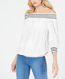 I.N.C. Crochet-Trim Off-The-Shoulder Top, Created for Macy's