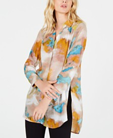 I.N.C. Petite Watercolor Tunic Blouse, Created for Macy's