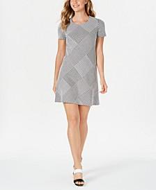 Houndstooth-Print A-Line Dress