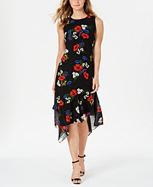 Ruffled-Hem Floral Midi Dress