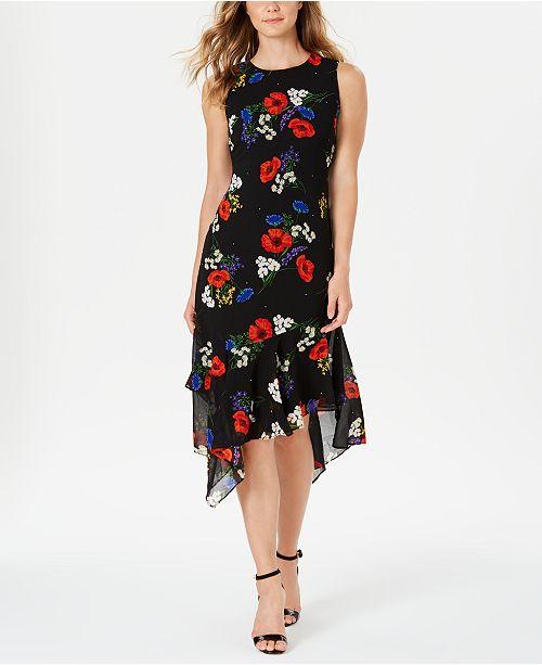 Calvin Klein Ruffled-Hem Floral Midi Dress