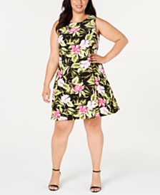 Kasper  Plus Size Hibiscus Dress