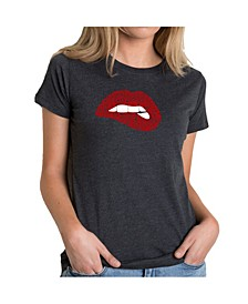 Women's Premium Word Art T-Shirt - Savage Lips