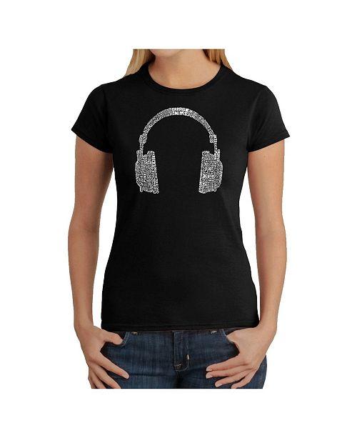 LA Pop Art Women's Word Art T-Shirt - 63 Different Genres of Music