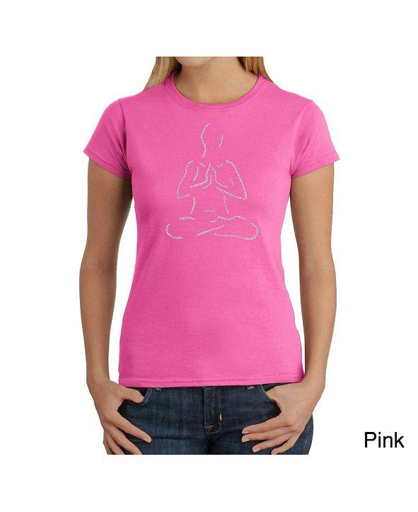 LA Pop Art Women's Word Art T-Shirt - Popular Yoga Poses