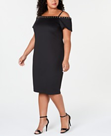 Calvin Klein Plus Size Off-The-Shoulder Studded Dress
