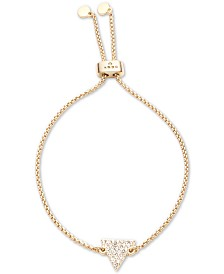 DKNY Gold-Tone Pavé Triangle Bolo Bracelet