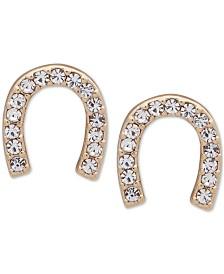 DKNY Gold-Tone Crystal Pavé Horseshoe Stud Earrings