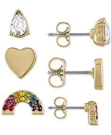 Gold-Tone 3-Pc. Set Crystal Teardrop, Rainbow and Heart Stud Earrings