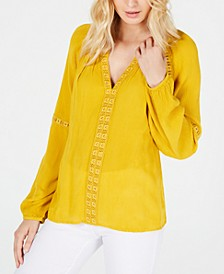 INC Grommet-Trim Peasant Top, Created for Macy's