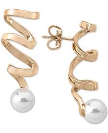 Imitation Pearl Spiral Drop Earrings