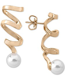 Majorica Imitation Pearl Spiral Drop Earrings