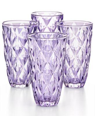 Purple Diamond Highball Glasses, Set of 4, Created for Macy's