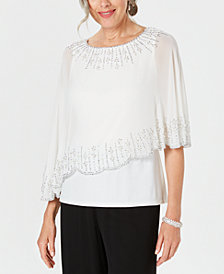 28th & Park Embellished Chiffon-Overlay Top, Created for Macy's