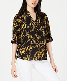 Juniors' Gold Chains Button-Up Shirt