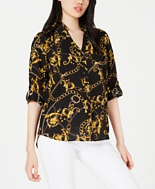 BCX Juniors' Gold Chains Button-Up Shirt