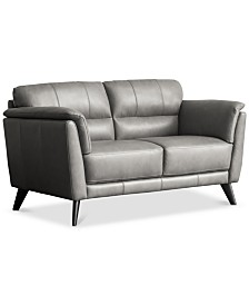 """Lucais 68"""" Leather Loveseat, Created for Macy's"""