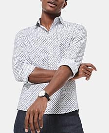 Men's Slim-Fit Stretch Tile-Print  Shirt