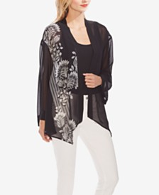 Vince Camuto Printed Open-Front Top
