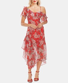 Vince Camuto Floral-Print Asymmetrical Dress