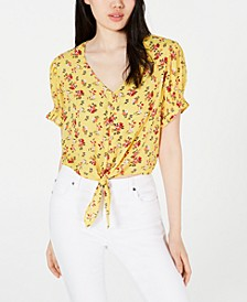Juniors' Printed Tie-Front Cropped Blouse