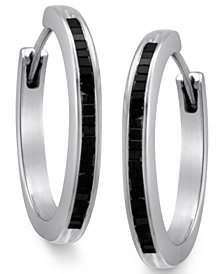 Sterling Silver Earrings, Black Diamond Baguette Hoop Earrings (1/2 ct. t.w.)