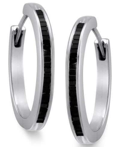 Sterling Silver Earrings Black Diamond Baguette Hoop 1 2 Ct T W