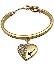 GUESS Pavé Logo Heart Charm Bangle Bracelet