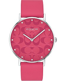 COACH Women's Perry Pink Leather Strap Watch 36mm, Created for Macy's