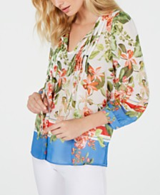 Tommy Hilfiger Pintuck Pleated Floral-Print Tunic, Created For Macy's