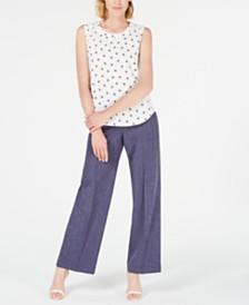 Anne Klein Printed Sleeveless Blouse & Denim Wide-Leg Pants