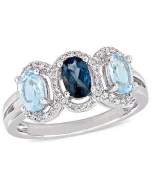 Blue Topaz (1-3/5 ct.t.w.) and Diamond (1/5 ct.t.w.) 3-Stone Halo Ring in Sterling Silver