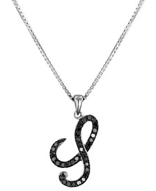 "Sterling Silver Necklace, Black Diamond ""S"" Initial Pendant (1/4 ct. t.w.)"