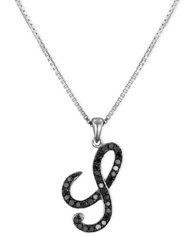 Sterling Silver Necklace, Black Diamond