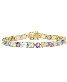 Blue Topaz (9-5/8 ct.t.w.), Prasiolite (8-1/2 ct.t.w.) and Amethyst (4 ct.t.w.) Mosaic Tennis Bracelet in 18k Yellow Gold over Sterling Silver