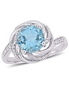 Blue Topaz (2-1/3 ct.t.w.), White Topaz (1/8 ct. t.w.) and Diamond Accent Interlaced Swirl Halo Ring in Sterling Silver