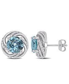 Blue Topaz (4-3/4 ct. t.w.) and White Topaz (1/4 ct.t.w.) Swirl Halo Stud Earrings in Sterling Silver