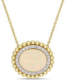 "Opal (3-1/2 ct. t.w.) and Diamond (1/4 ct. t.w.) Halo 17"" Necklace in 14k Yellow Gold"