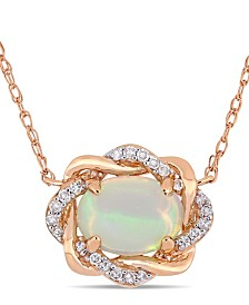 "Blue Opal (3/4 ct.t.w.) and Diamond (1/10 ct.t.w.) Interlaced Halo 17"" Necklace in 10k Rose Gold"