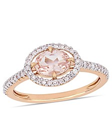 Morganite (3/4 ct.t.w.) and Diamond (1/4 ct.t.w.) Halo Ring in 14k Rose Gold